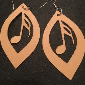 Jewelry - Leather handmade music note earrings